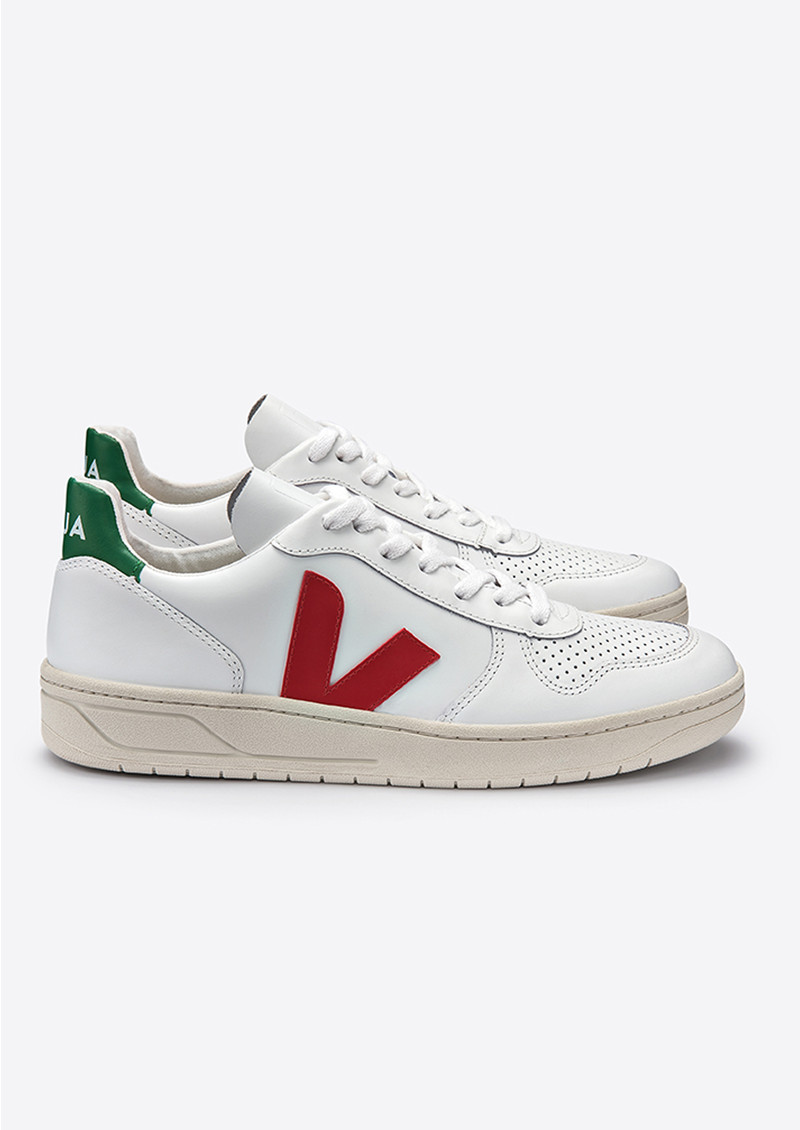 V 10 Leather Trainers   Extra White, Pekin &Amp; Emeraude by Veja