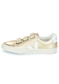 VEJA 3 Lock Leather Trainers - Gold & White