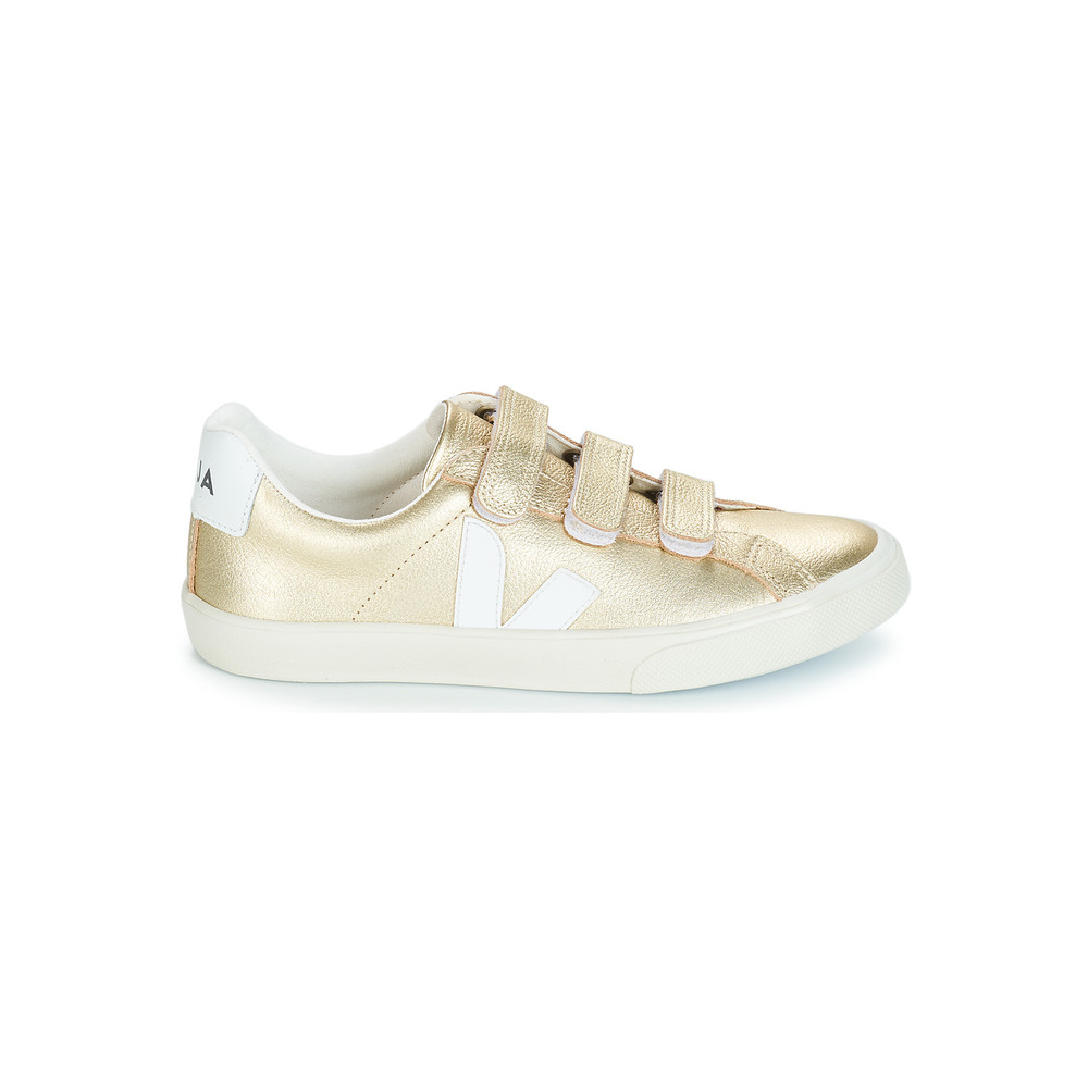 3 Lock Leather Trainers - Gold & White
