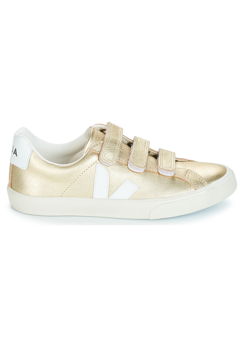 VEJA 3 Lock Leather Trainers - Gold & White main image