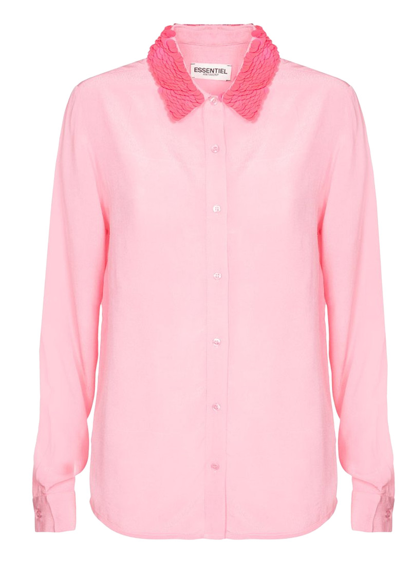 ESSENTIEL ANTWERP Raksoi Pink Sequin Collar Shirt  main image