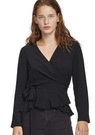 SAMSOE & SAMSOE Limon Wrap Long Sleeve Top - Black