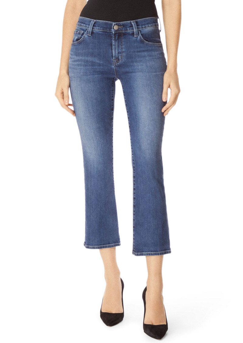 J Brand Selena Mid Rise Cropped Boot Cut Jeans - Polaris Destruct main image