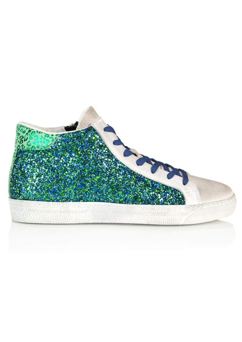 AIR & GRACE Alto Trainers - Blue & Green Glitter main image