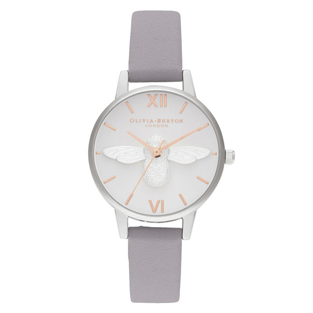 3D Bee Midi Dial Watch - Grey Lilac, Rose Gold & Silver