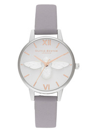 Olivia Burton 3D Bee Midi Dial Watch - Grey Lilac, Rose Gold & Silver