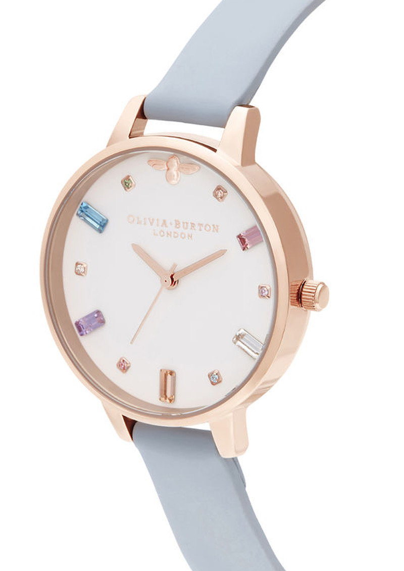 Rainbow Bee Demi Dial Watch - Chalk Blue & Rose Gold main image