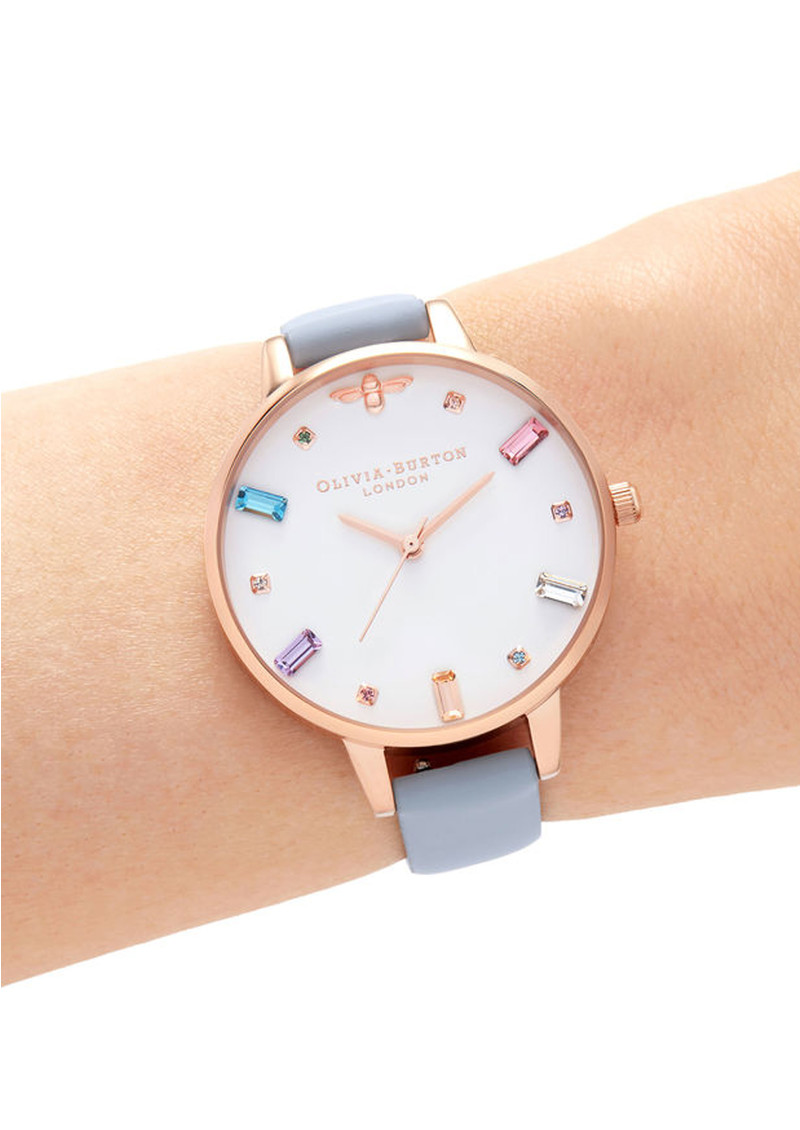 Olivia Burton Rainbow Bee Demi Dial Watch - Chalk Blue & Rose Gold main image