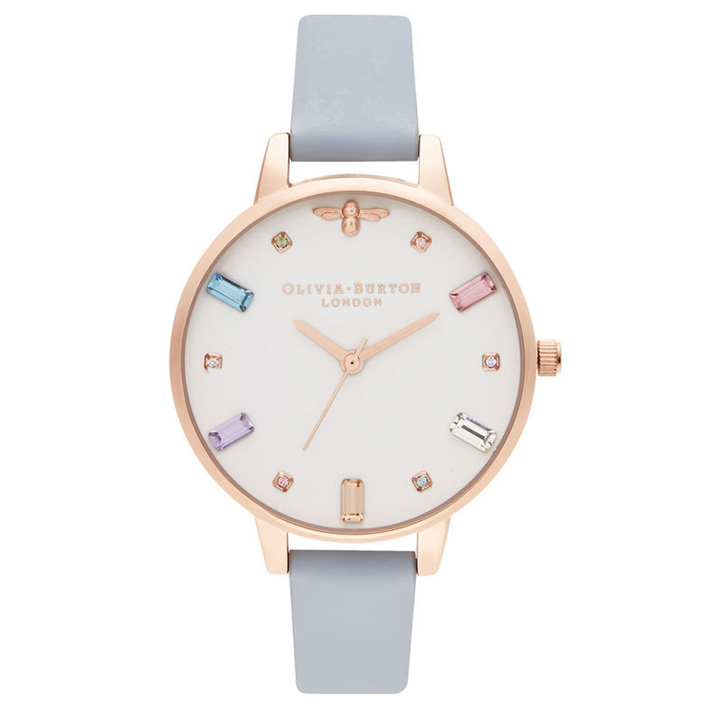 Rainbow Bee Demi Dial Watch - Chalk Blue & Rose Gold