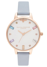 Olivia Burton Rainbow Bee Demi Dial Watch - Chalk Blue & Rose Gold