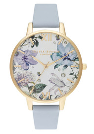 Olivia Burton Bejewelled Florals Big Dial Watch - Chalk Blue & Gold