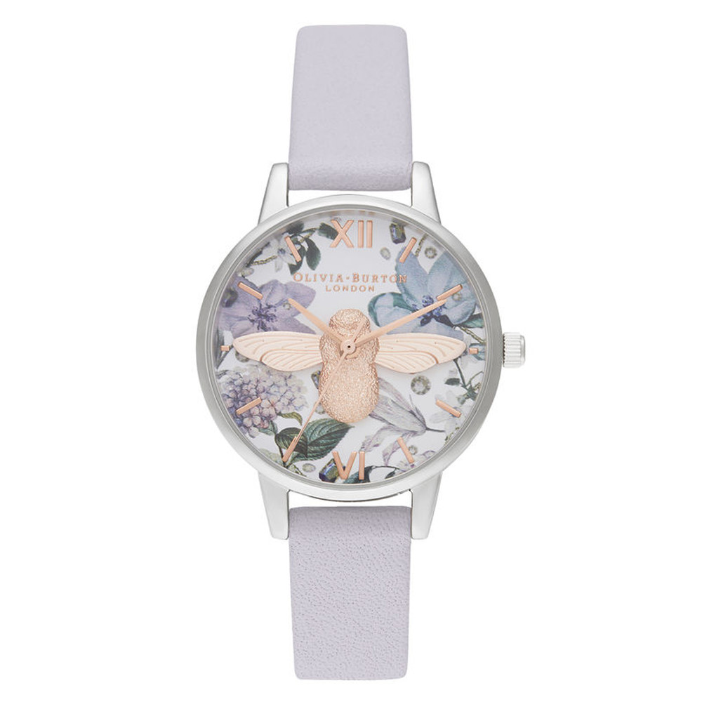 Bejewelled Florals Midi 3D Bee Watch - Parma Violet, Rose Gold & Silver