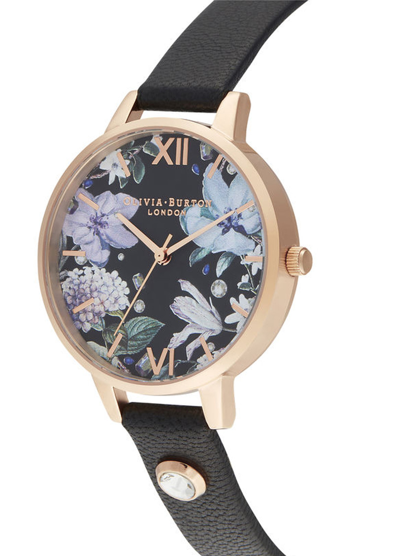 Olivia Burton Bejewelled Florals Embellished Demi Dial Watch - Black & Rose Gold main image
