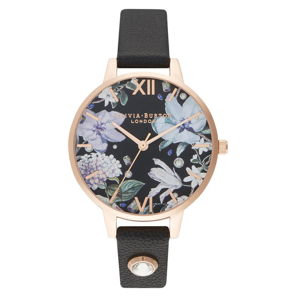 Bejewelled Florals Embellished Demi Dial Watch - Black & Rose Gold