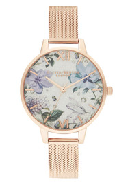 Olivia Burton Bejewelled Florals Silver Glitter Demi Dial Watch - Rose Gold Mesh