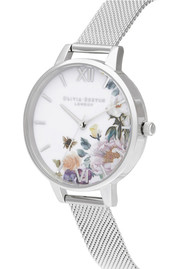 Olivia Burton Enchanted Garden Demi Dial Watch - Silver Mesh
