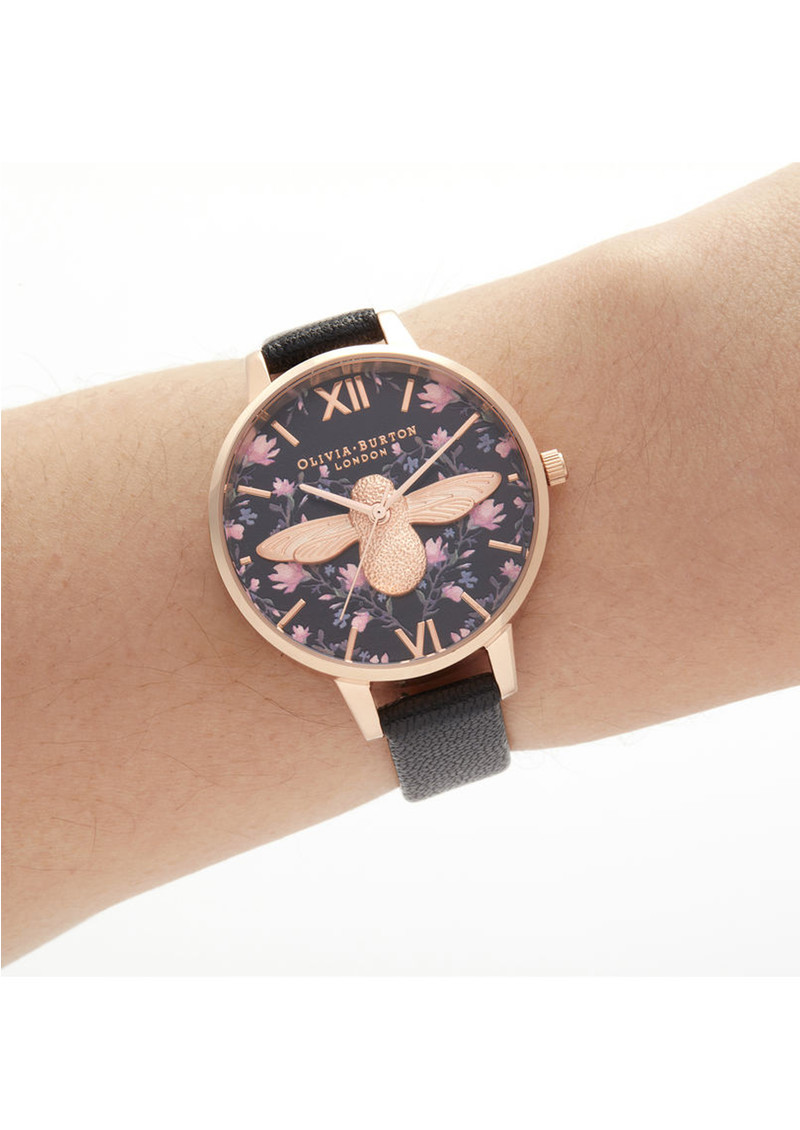 Olivia Burton Meant To Bee Demi Dial Watch - Black & Rose Gold main image