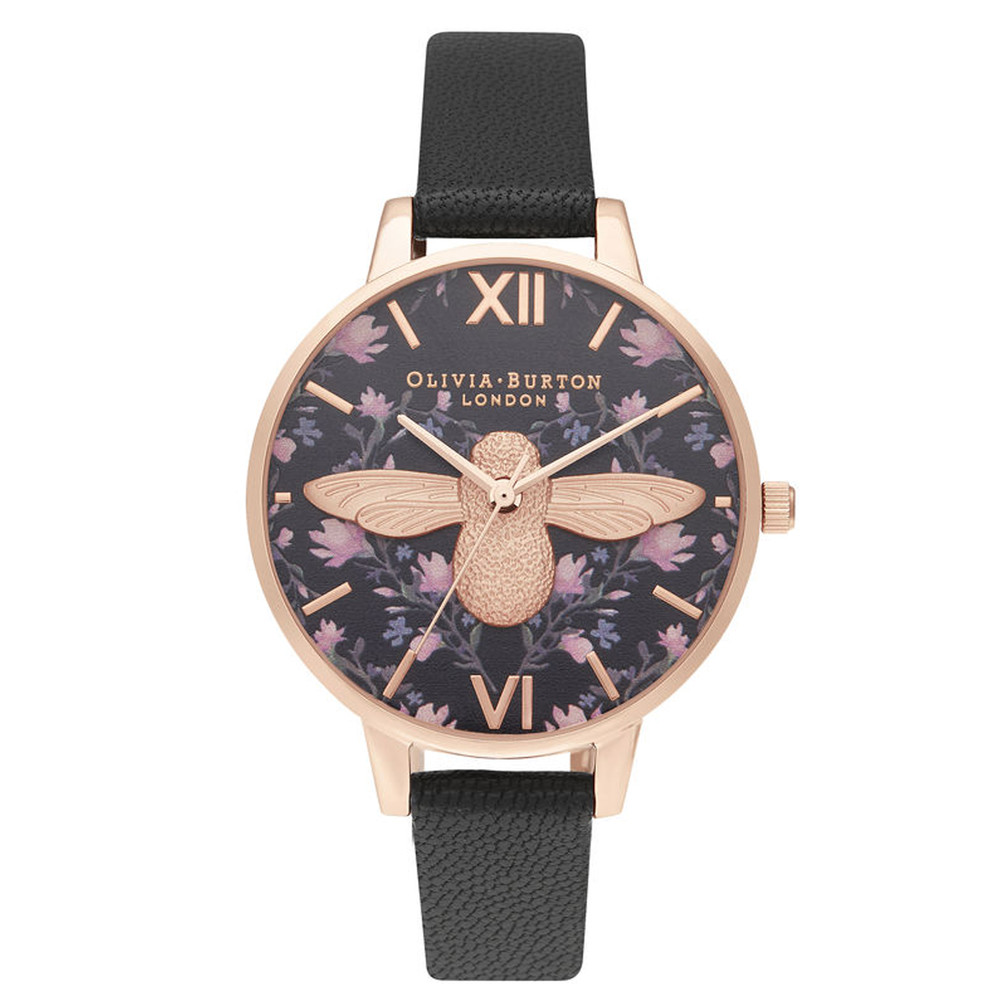 Meant To Bee Demi Dial Watch - Black & Rose Gold