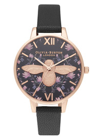 Olivia Burton Meant To Bee Demi Dial Watch - Black & Rose Gold