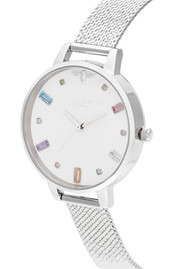 Olivia Burton Rainbow Bee Demi Dial Watch - Silver Boucle Mesh