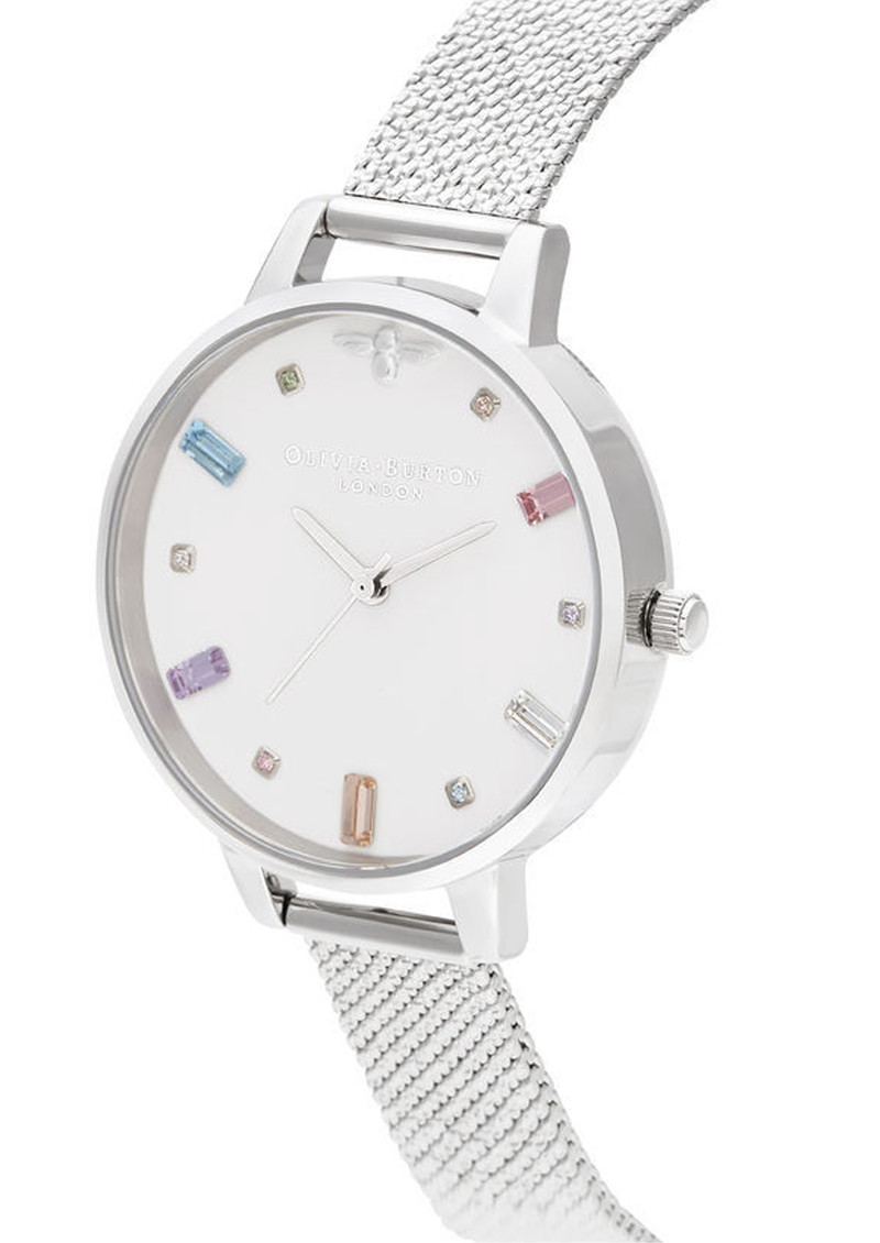 Olivia Burton Rainbow Bee Demi Dial Watch Silver Boucle Mesh