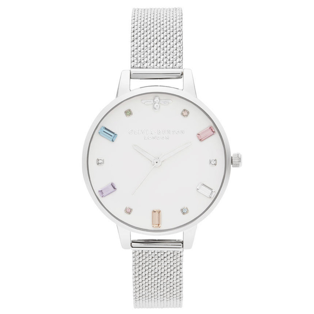 Rainbow Bee Demi Dial Watch - Silver Boucle Mesh