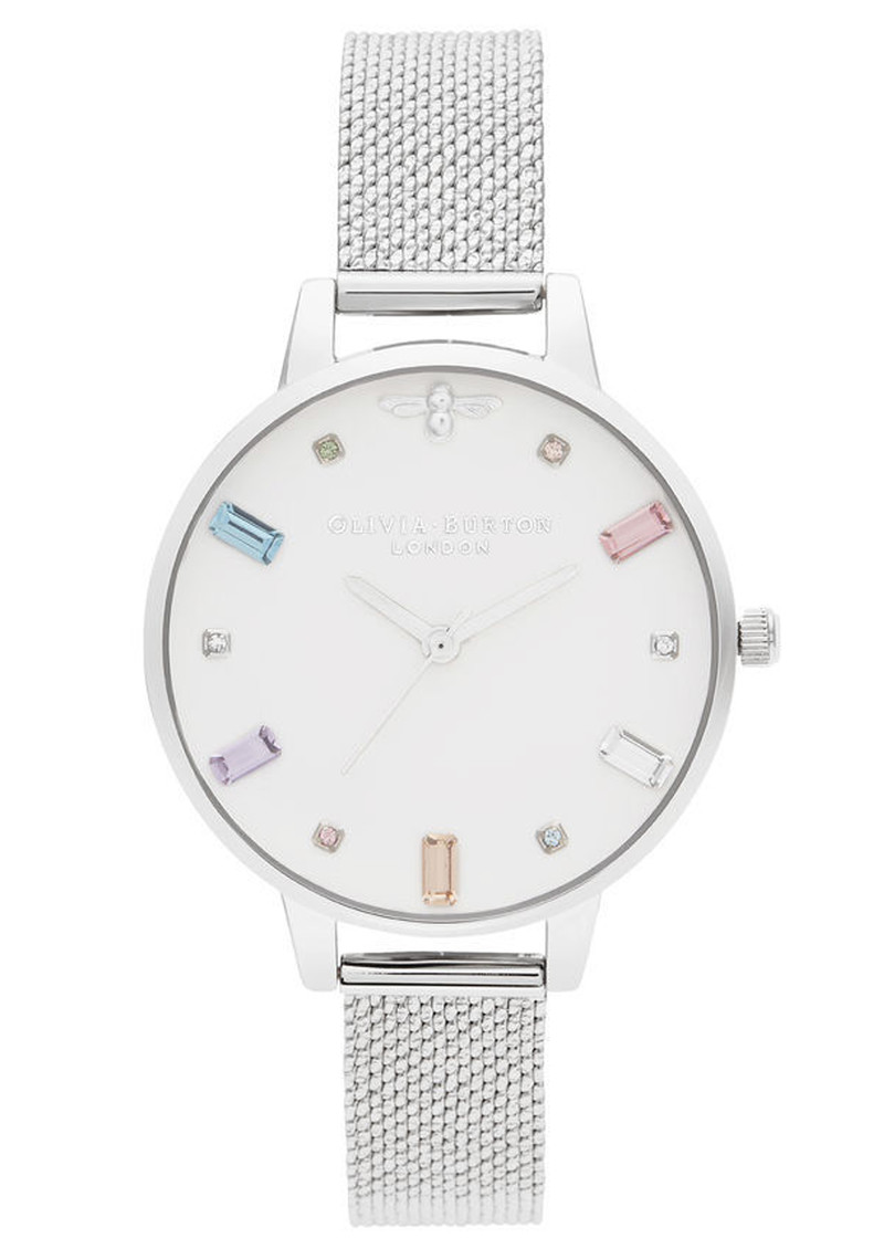 Olivia Burton Rainbow Bee Demi Dial Watch - Silver Boucle Mesh main image