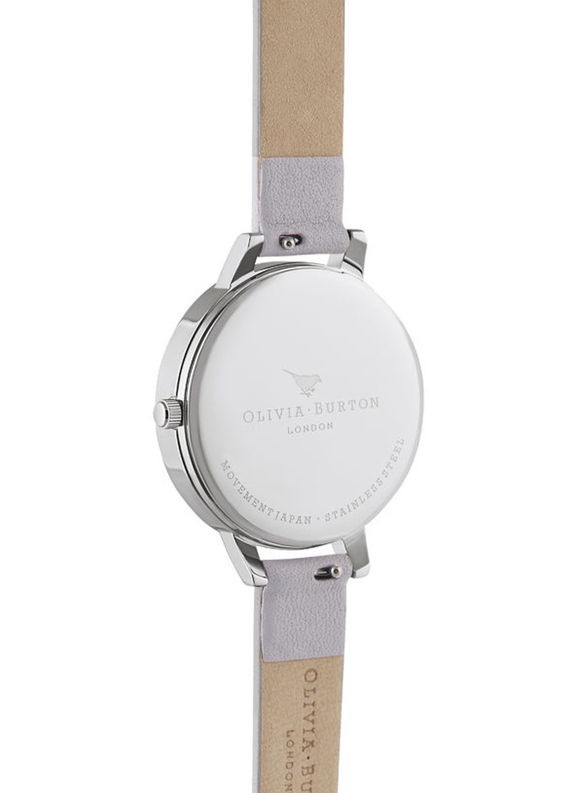 Olivia Burton Watercolour Floral Demi Dial Watch - Grey Lilac, Silver & Rose Gold main image