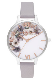 Olivia Burton Watercolour Floral Demi Dial Watch - Grey Lilac, Silver & Rose Gold