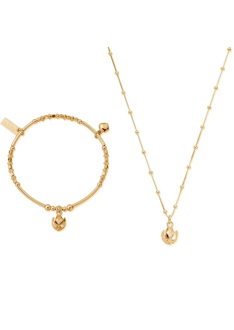 ChloBo Beautiful Soul Bracelet & Necklace Set - Gold main image