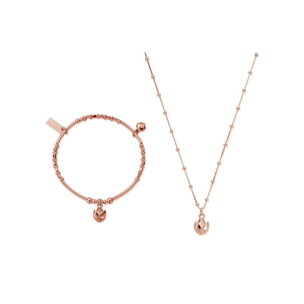 Beautiful Soul Bracelet & Necklace Set - Rose Gold