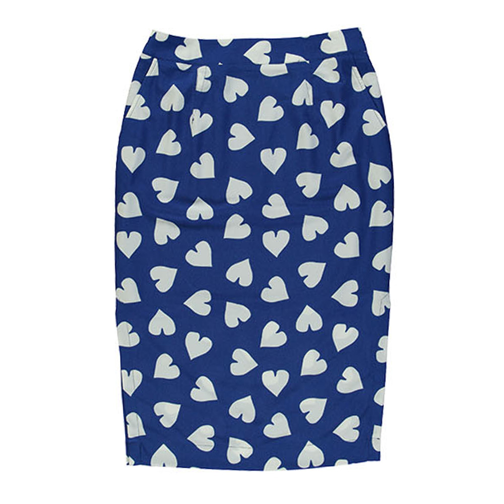 Sylis Fitted Heart Skirt - Cobalt Blue