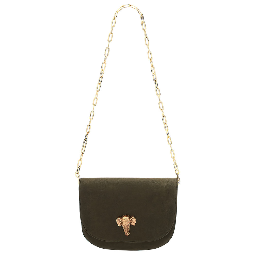Coachella Leather Elephant Bag - Khaki