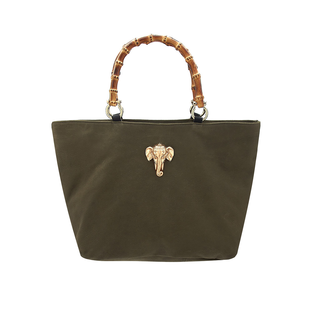 Honeymoon Leather Elephant Bag - Khaki