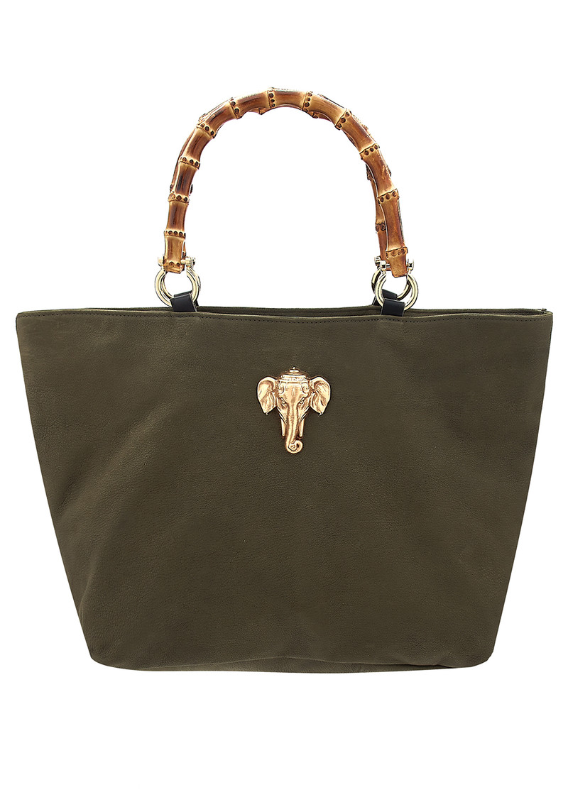Sous Les Paves Honeymoon Leather Elephant Bag - Khaki  main image