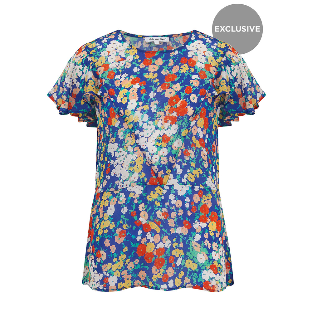 Exclusive Anna Top - Blue Floral