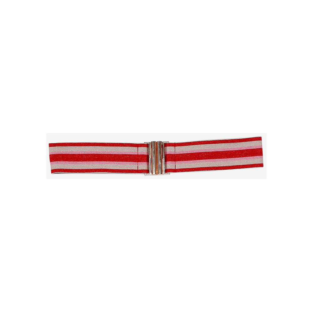 Luana Elasticated Stripe Belt - Red & Pink