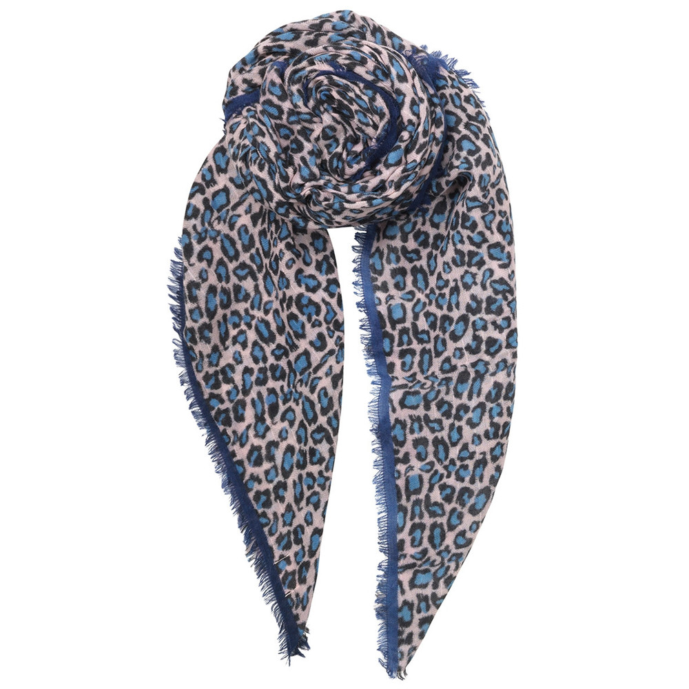 Cleo Leopard Scarf - Light Blue