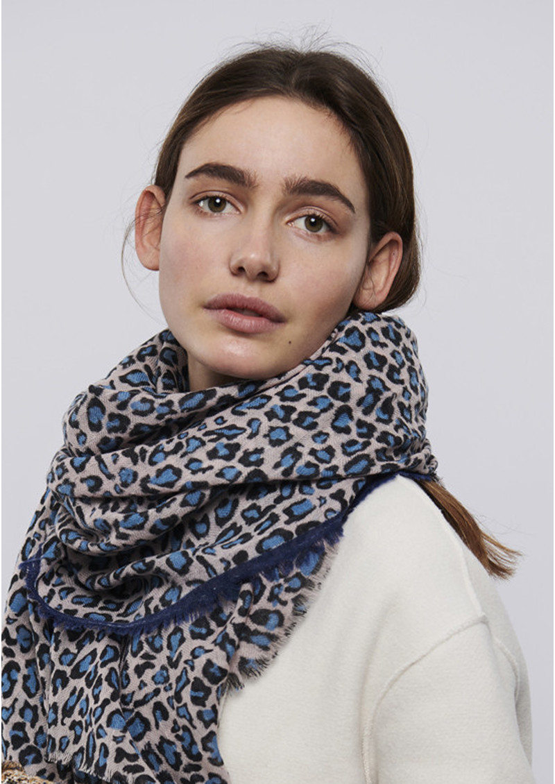 Cleo Leopard Scarf - Light Blue main image