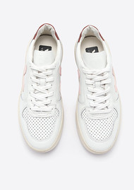 VEJA V-10 Leather Trainers - Extra White & Dried Petal