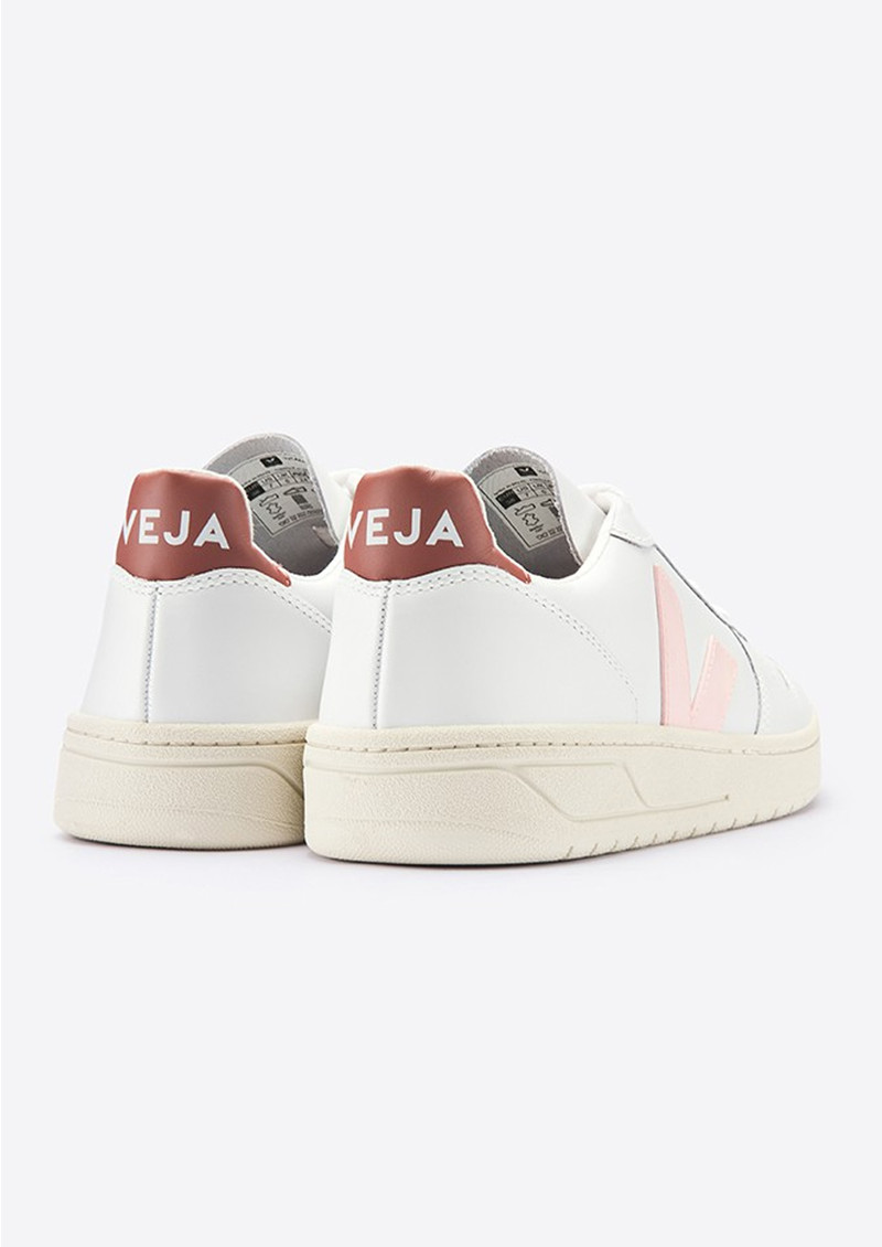 VEJA V-10 Leather Trainers - Extra White & Dried Petal main image