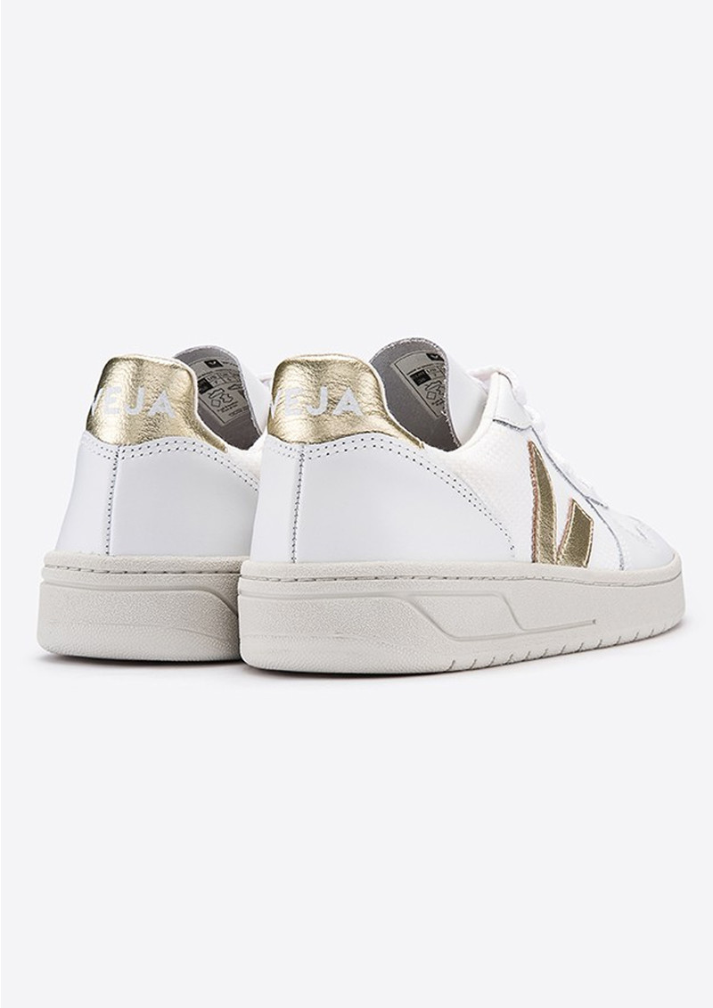 VEJA V-10 Leather Mesh Trainers - White & Gold main image