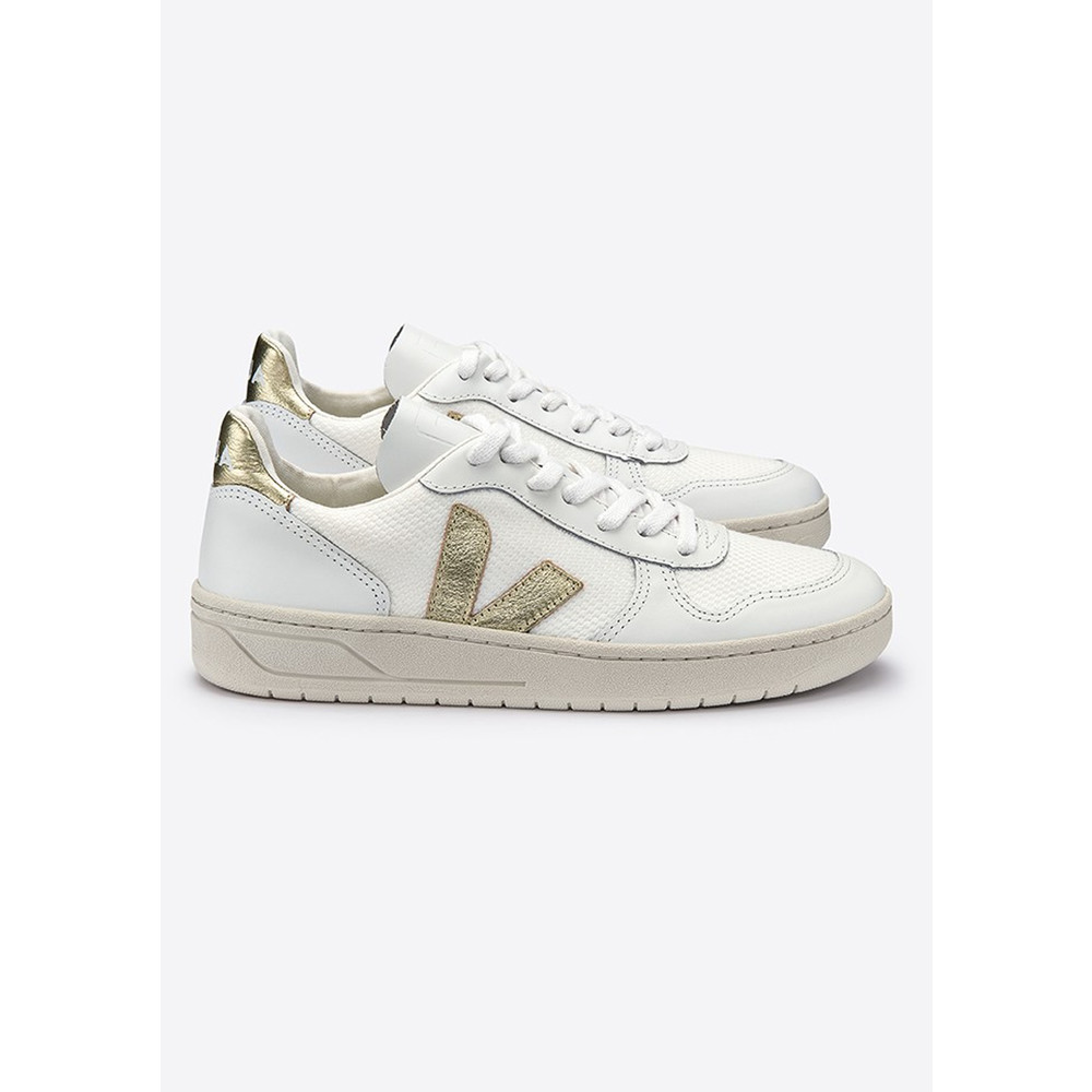 V-10 Leather Mesh Trainers - White & Gold