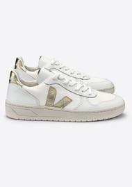 VEJA V-10 Leather Mesh Trainers - White & Gold
