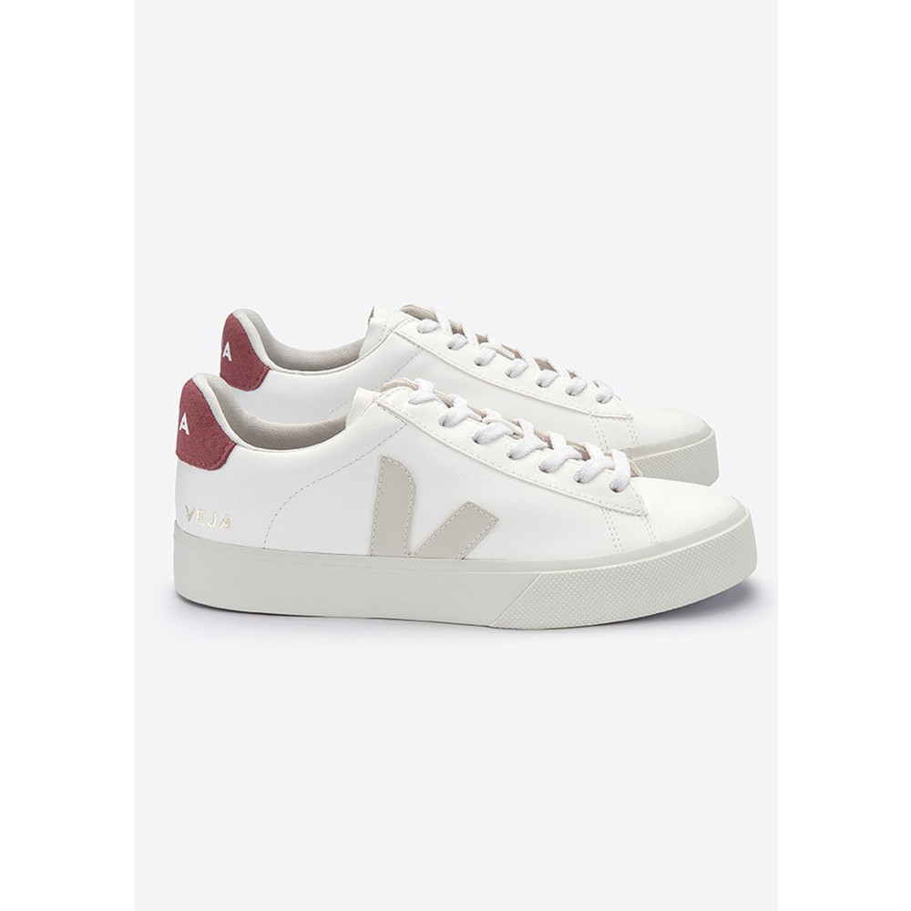 Campo Vegan Leather Trainers - White Pierre Dried Petal
