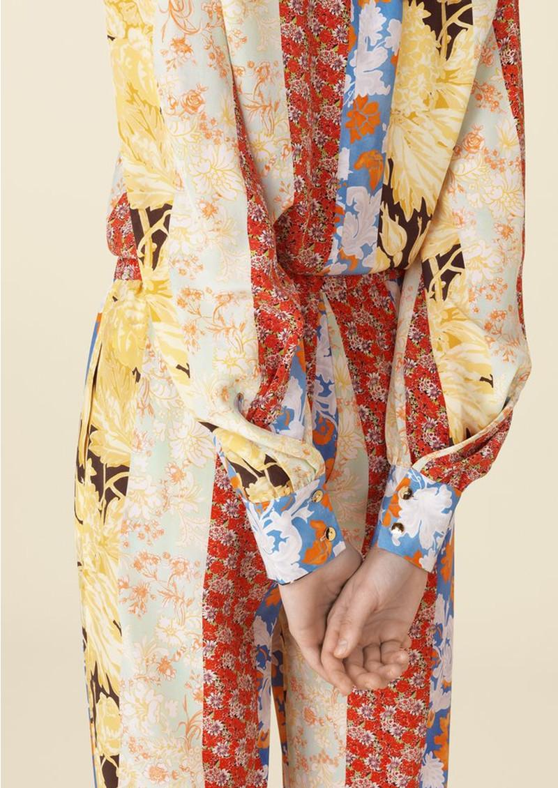 STINE GOYA Karolina Silk Top - Floral Wallpaper main image