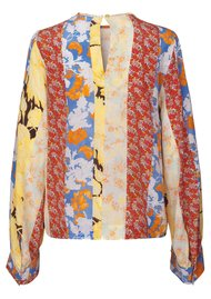 STINE GOYA Karolina Silk Top - Floral Wallpaper