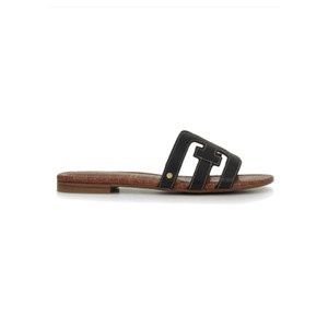 Bay Leather Slide Sandals - Black