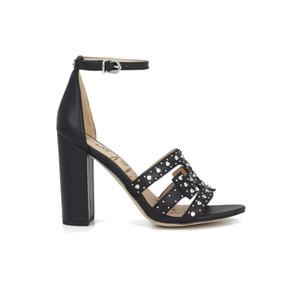 Yasha Studded Block Heel Sandal - Black