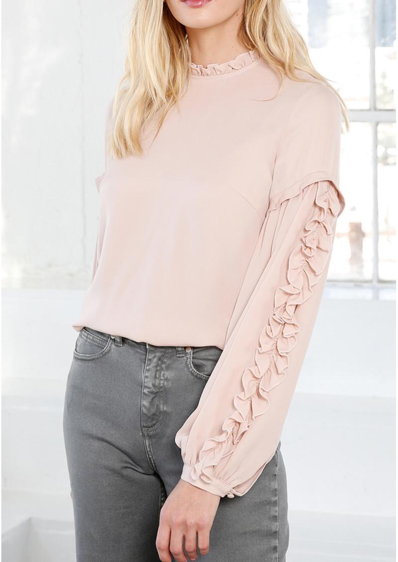MAYLA Valeria Frill Silk Blouse - Rose main image